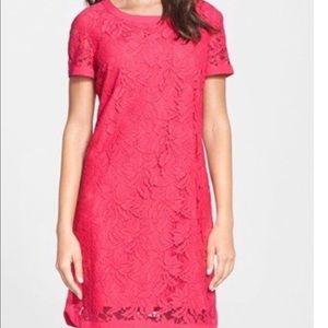 Donna Morgan Coral Pink Lace Shift Dress Size 8